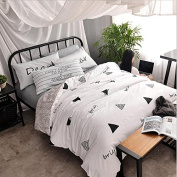 Simple Style Bedding 3D Four-Piece Cotton Solid Colour Shuangpin AB Version Of The Students (For 1.2M-1.8M Bed) , 7 , 160*210