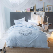 Japanese Style Bedding 3D Four Sets Of Solid Colour Washed Cotton Embroidered Fresh Lace (For 1.5M - 2M Bed) , 4 , 200*230