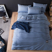Japanese Style Bedding 3D Four Sets Of Washed Cotton Cotton Pure Colour Bed Sheets (For 1.5M - 2M Bed) , 1 , 220*240