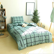 Simple Style Bedding 3D Three-Piece Set 100% Cotton Active Twill Lattice Student Dormitory (For 1.2M - 1.5M Bed) , 5 , 155*205