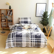 Simple Style Bedding 3D Three-Piece Set 100% Cotton Active Twill Lattice Student Dormitory (For 1.2M - 1.5M Bed) , 7 , 155*205
