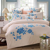 Pastoral Style 3D Bed Four Sets Of 100% Cotton Embroidery High - End Four Seasons Bedding , 4 , 220*240