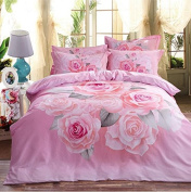 Pastoral Style 3D Bed Four Sets Of 100% Cotton Occupational Stressening Jacquard Bedding , 10 , 220*240