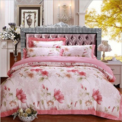 Pastoral Style 3D Bed Four Sets Of 100% Cotton High-Grade Colourful Hollow Jacquard Bedding , 1 , 220*240