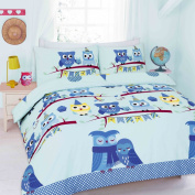 Goldstar® Cute Owl Blue Cot Bed Size Duvet Quilt Cover Printed Bedding Set With Pillow Case
