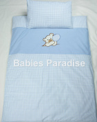 Babies 2 Piece Baby Bedding Set with Bear Pattern Balloon Blue/Cheque
