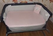 2 x Baby Crib Fitted Sheets to fit Chicco Next2Me Crib Sheets - 100% Cotton 1 Pink + 1 White