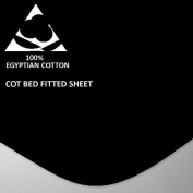 Goldstar® Black Cot Bed Fitted Sheet 100% Egyptian Cotton 200 Thread Count, 70 x 140cm