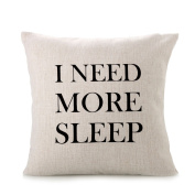 Hevoiok Pillow Case I NEED MORE SLEEP Festival Pillow Case Cushion Cover Sofa Bed Home Decoration Pillow Case Removable Washable Cushion Cover