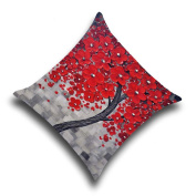 EULAGPRE 3D Oil Painting Trees Flowers Cotton Linen Cushions Pillowcase Bedding