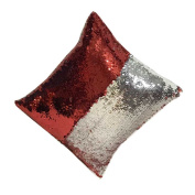 EULAGPRE Reversible Mermaid Pillow Cover Glitter Sofa Cushion Case Double Colour Cover