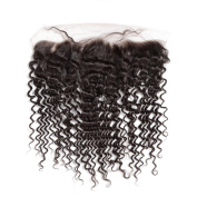 Rosa Hair Products Normal Deep Wave Lace Frontal Virgin Human Hair Closure Swiss Lace With Reinforced Edge