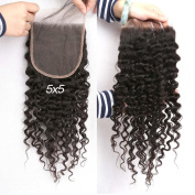 Greatremy 13cm x 13cm Brazilian Curly Wave Lace Closure with Baby Hair Free Part Natural Colour 36cm