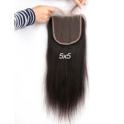 Greatremy 13cm x 13cm Straight Lace Closure with Baby Hair Free Part Brazilian Virgin Human Hair Natural Colour 46cm