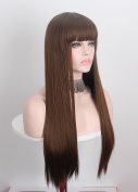 Anxin Long Straight Wigs with Flat Bangs for women