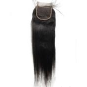 FDshine Brazilian Lace Closure Coarse Light Yaki Straight Human Hair Natural Colour 10cm x 10cm Free Part Medium Brown Lace Colour