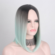 Anxin Light Green Ombre Bob Wig Short Straight Synthetic no Lace Full Wigs for Black Women
