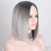 Anxin Short Ombre Wigs Middle Part Central of Top Head Grey Hairs Without Bangs