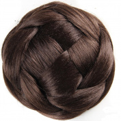 DENIYA Braided Hair Chignon Synthetic Hair Bun Hairpiece Clip in Dark Brown