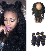 Virgin Brazilian Human Hair 360 Lace Band Frontal with 3Bundle Loose Wave Hair Extensions