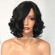 Vanessa Queen Black Colour Short Wave Synthetic None Lace Wigs With Bangs Body Wave Heat Resistant Fibre Hair Wigs 36cm