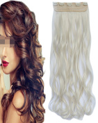 """BarRan 22"""" 55cm Women Wavy Clip In Hair Extensions One Piece 3/4 Full Head Long Curly Hairpieces"""