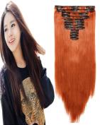 BarRan 60cm Women Long Straight Synthetic Clip in Hair Extensions pieces 12pcs/set Heat Resistent Fibre