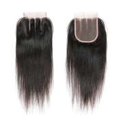 DRESSMAKER Brazilian Virgin Hair Straight 4x 4 Lace Closure With Baby Hair 3 Part Natural Colour