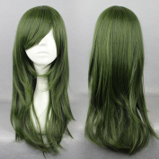 Wigsforyou Long Dark Green Synthetic Women Hair New Halloween Costume Party Cosplay Full Wig