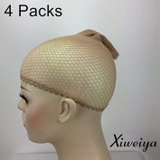 Xiweiya blonde colour Design Wig Caps net - Neutral (4 Pack) Neutral Nude Beige and blonde Mesh …