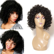 HAIQUAN Short Curly Wig Synthetic Hair Full Head Women Natural