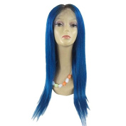 HAIQUAN Ombre Blue Colour 50cm 360 Full Lace Handmade Front Wigs Natural Straight Brazilian Vrigin Human Hair Caps Cosplay