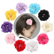 VGLOOK 10 Pcs Multicolor Chiffon Flowers Petal Hair Clip With Rhinestones and Pearl for Kids Baby Girls