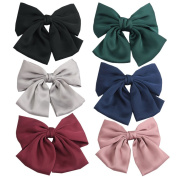 PIDOUDOU Set of 6 Big Satin Solid Bow Hair Clips Women Barrettes