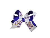 LSU Tigers NCAA Two Tone Hair Bow with Barrette