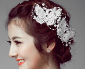 Crochet White Butterfly and Pearl Hair Clip Hair Accessories, Hairpin Bridal Hair, Wedding Hair, Bride Hair Jewellery