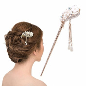 Vintage Chinese Women'sOrchid Flower and Crystal Hair Stick, Bridal Hair, Wedding Hair, Bride Hair Jewellery