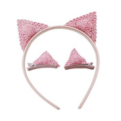Cute Pink Cat Ear Hair Headband Hair Clip Set for Kids Girls Adorable Cosplay Holiday Hair Accessories