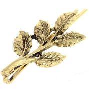 Set of 2 Gold Tone Leaf Hair Pins, Metal Hair clips