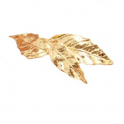 Set of 2 Gold Tone Leaf Hair Barrettes, Metal Hair clips