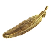 Set of 2 Gold Tone Feather Hair Barrettes, Metal Hair clips