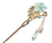 Vintage Chinese Women's Crystal Flower Blue Hair Stick, Bridal Hair, Wedding Hair, Bride Hair Jewellery