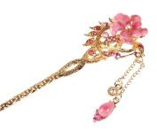 Vintage Chinese Women's Crystal Flower Pink Hair Stick, Bridal Hair, Wedding Hair, Bride Hair Jewellery