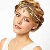 Pearl Wedding Hair Chain, Boho Beaded Head Piece for Wedding Bridal Headdress, Bride Hair Jewellery