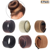 Hisight 6pcs Fashion Hair Styling Disc Hair Tool a wig barrette hair ring noble French Twist DIY