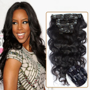 Choshim Hair Brazilian Clip in Human Hair Extensions Body Wave Clip Ins for Black Women 9pieces set Brazilian Virgin Hair Clip In Extension 120 Gramme 60cm