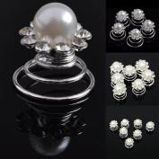 Imixlot Women & Girl Big Bead Crystal Embellishment Swirl Hair Twists Coils Spirals Hair Pin Clip Pack of 12