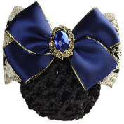 LiveZone Women Professional Hair Bun Cover Net Snood Hairnet Bowknot Decor Barrette Hair Clip Bow Lace Flower Hair Accessories,Blue