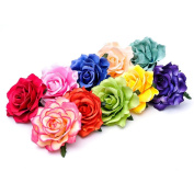 Flocking Cloth Red Rose Flower Hair Clip Hairpin DIY Headdress Hair Accessories For Wedding