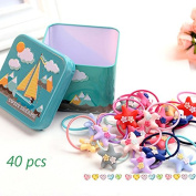 J-Beauty Baby Kids Girl Colourful Star Hair Tie Bands Rope Clip 40 Pcs In One Metal Box